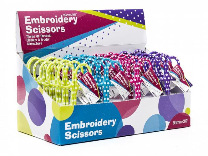 Wholesale Embroidery Scissors Polka Dots Display 4x6pcs