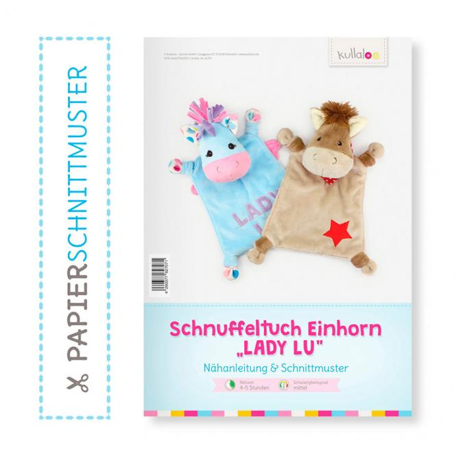 "Großhandel Kullaloo Booklet Schnuffeltuch ""Einhorn Lady Lu"" Schnittmust"
