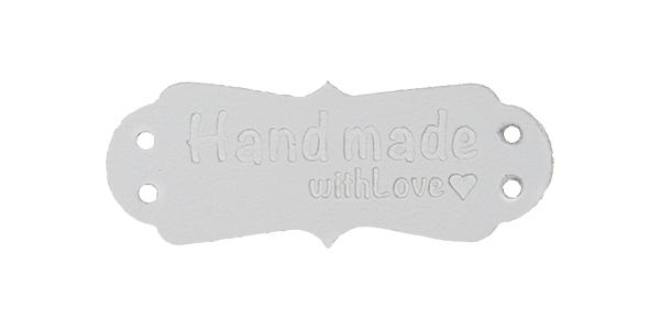 Großhandel Applikation Kunstleder Label Handmade with Love Weiß