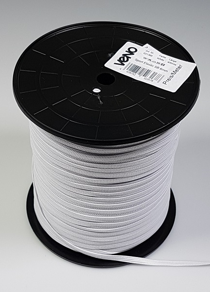 Wholesale Elastic Tape 6mm White Sold by the meter