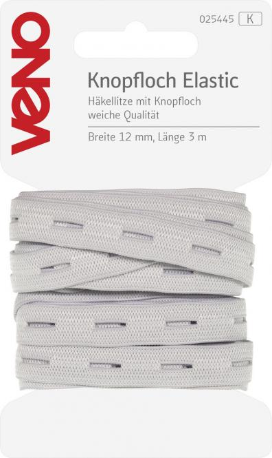 Knopfloch-Elastic 12 mm wei/ß