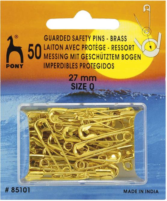 Wholesale Safety Pins Guarded Brass 27mm