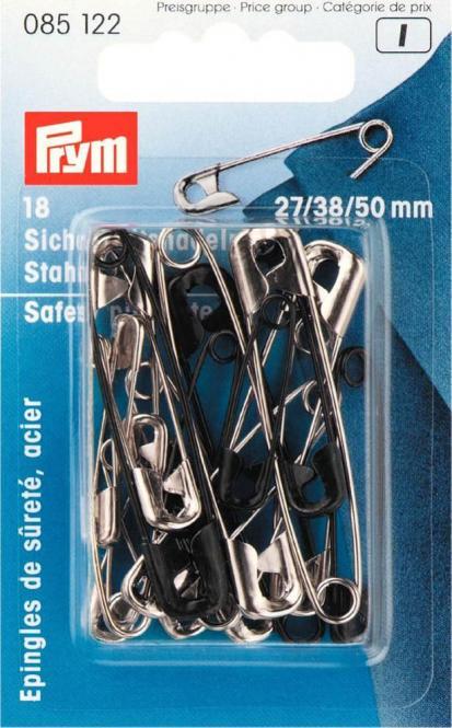 Großhandel Sicherheitsnadeln ST 27/38/50 mm silberfarbig/schwarz