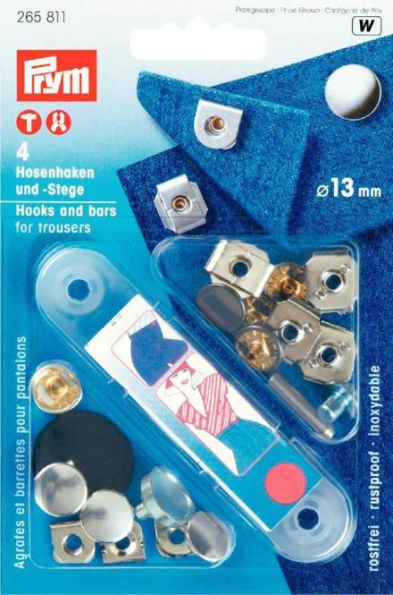 Großhandel NF-Hosenhaken und Stege ST 13 mm silberfarbig/brüniert