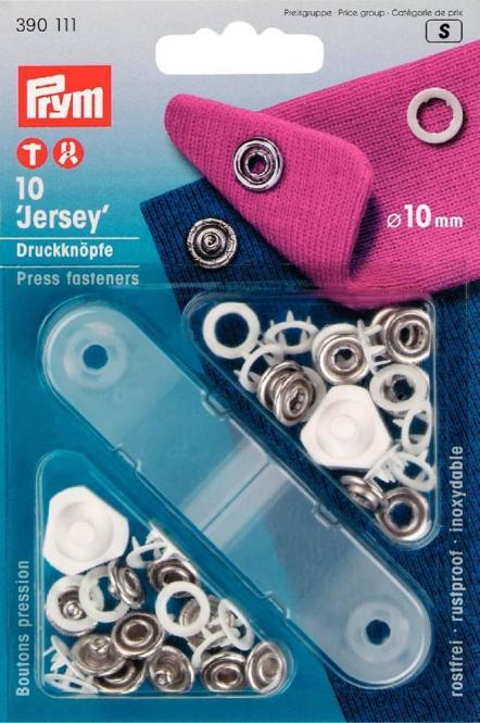 Wholesale Non-sew fast Jersey 10mm white 10pc