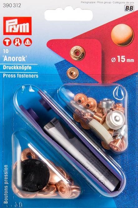 Großhandel NF-Druckknopf Anorak MS 15 mm verkupfert