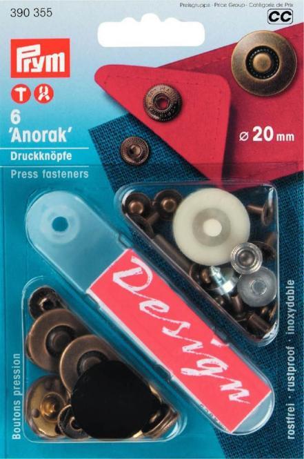 Großhandel NF-Druckknopf Anorak Reifen MS 20 mm altmessing
