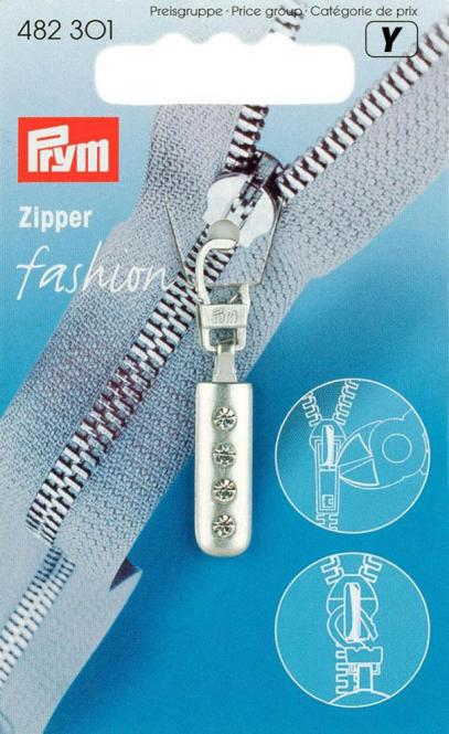 Großhandel Fashion-Zipper Strass silberfarbig matt