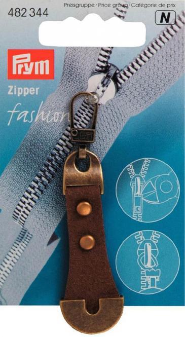 Großhandel Fashion-Zipper Leder/Metall braun