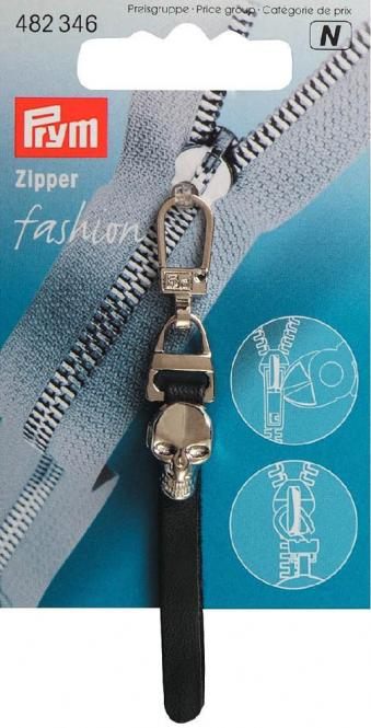 Großhandel Fashion-Zipper Totenkopf schwarz/silber