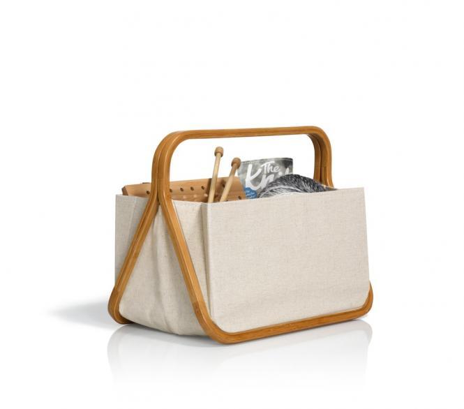 "Wholesale Fold & Store Basket ""Canvas & Bamboo"" natural"