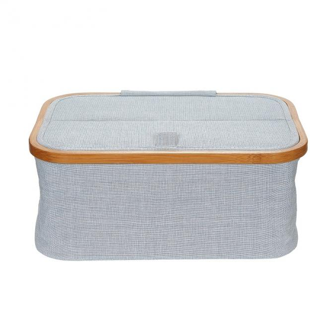 Wholesale sewing basket Canvas & Bamboo foldable blue