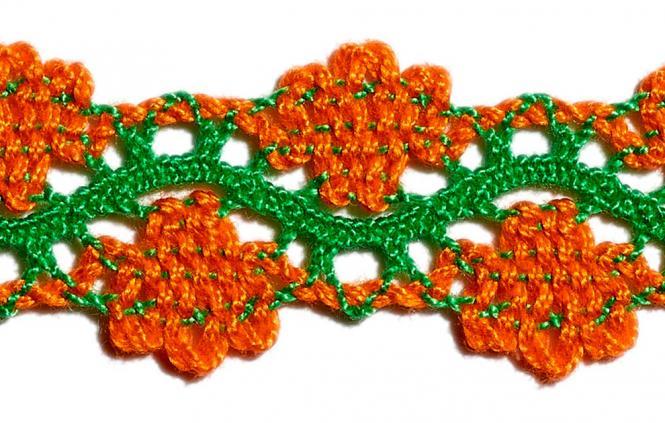Großhandel Klöppelspitze 20mm zweifarbig orange/grün