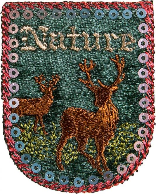 Großhandel Applikation Wappen Hirsche Nature