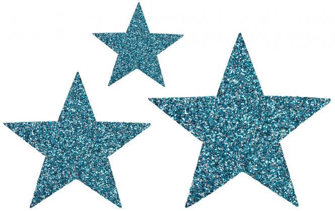 Großhandel Applikation Sort. 3x2 Sterne türkis glitter
