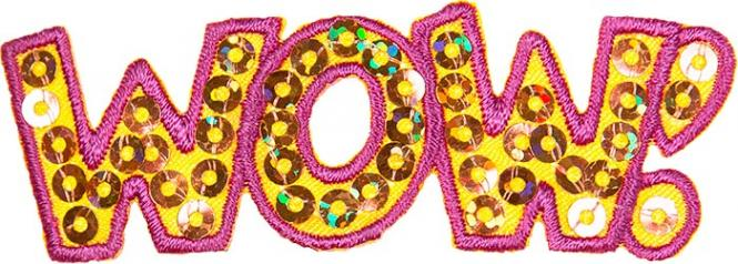 "Wholesale Motif ""WOW!"" with Sequins"