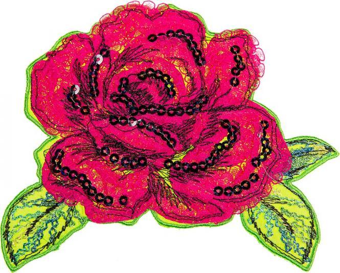 Großhandel Applikation Rose Chenille/Pailletten