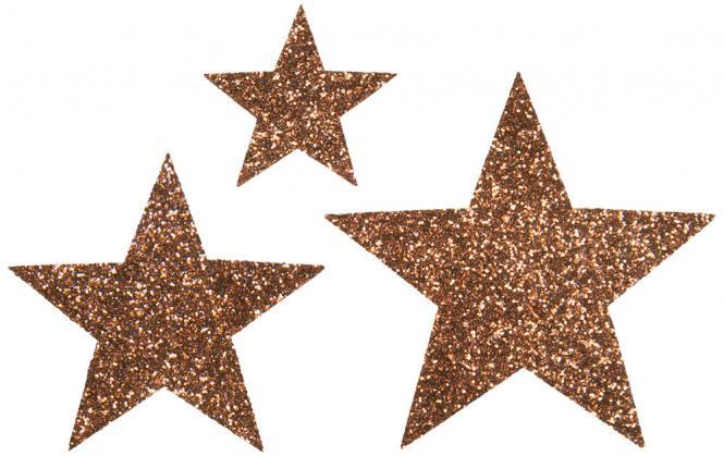 Großhandel Applikation Sort. 3x2 Sterne braun glitter
