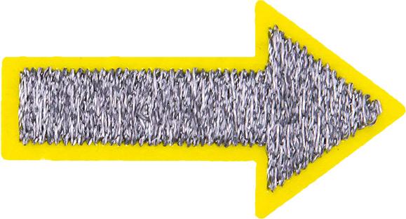 Großhandel Applikation Pfeil gelb Reflex
