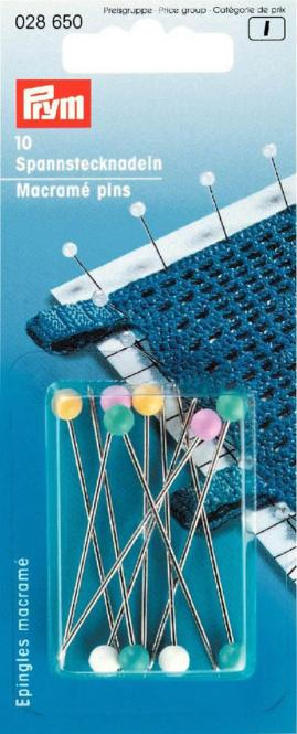 Wholesale Macramé pins met/plast col          10pc