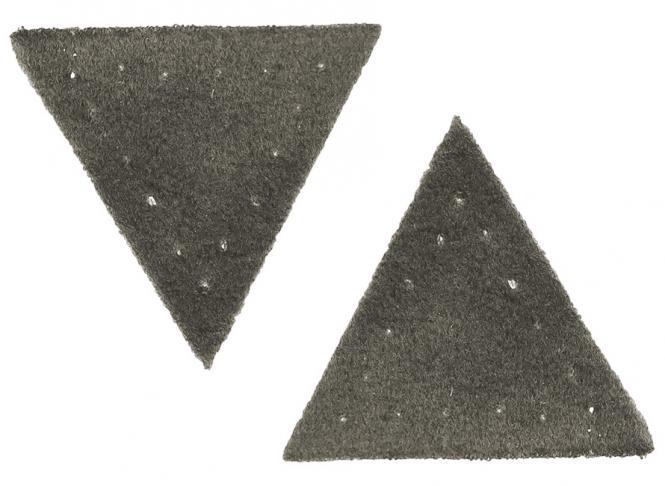 Großhandel Applikation Dreieck Wildlederimitat grau