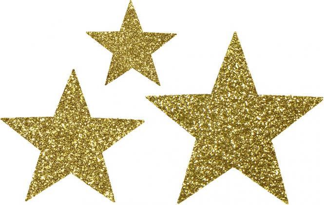 Großhandel Applikation Sort. 3x2 Sterne gold glitter