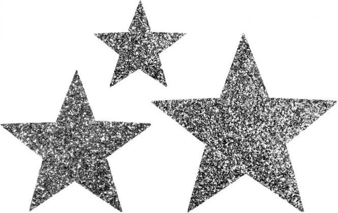 Großhandel Applikation Sort. 3x2 Sterne anthrazit glitter