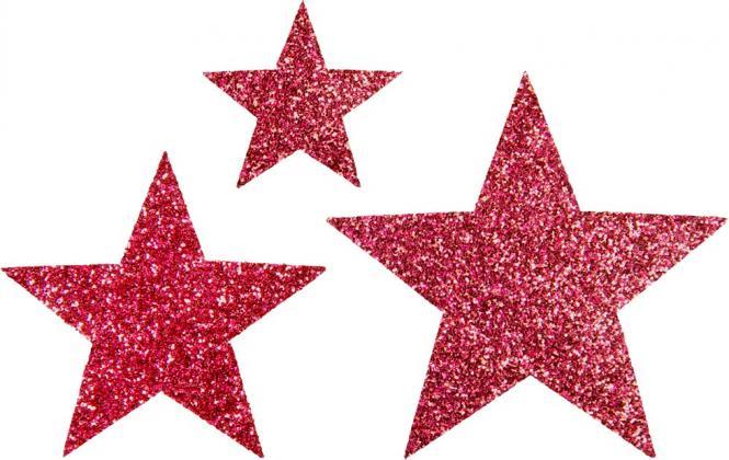 Großhandel Applikation Sort. 3x2 Sterne pink glitter