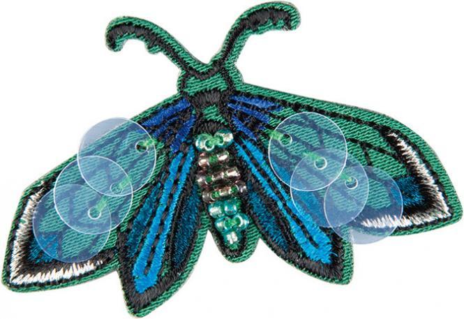 Großhandel Applikation Schmetterling grün mit Perlen und Pailletten