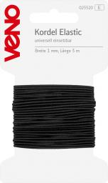 Elastic Cord Self-Service 1mm Black, 4028752072041