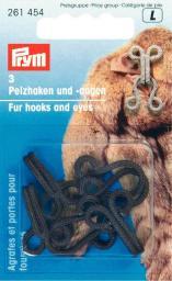Fur hooks & eyes mild steel brown    3pc, 4002272614547