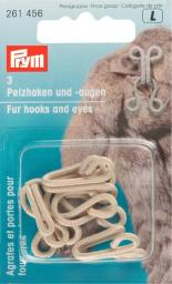 Fur hooks & eyes mild steel beige    3pc, 4002272614561