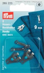 Sew-on Trous Hook/Bars H&T 9mm black 2pc, 4002272652235