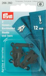 Sew-on Trous Hook/Bar ST 12mm black 2pc, 4002272662609
