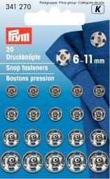 Annäh-Druckknöpfe MS 6-11 mm silberfarbig, 4002273412708