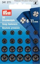 Annäh-Druckknöpfe MS 6-11 mm schwarz, 4002273412715