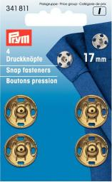 Sew-on snap fast brass 17mm go-col   4pc, 4002273418113