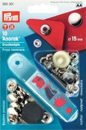 NF-Druckknopf Anorak MS 15 mm silberfarbig, 4002273903015