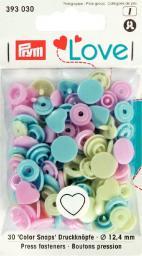 Prym Love Druckknopf Color Herz 12,4mm rosa/grün/hellblau, 4002273930301