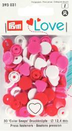 Prym Love Druckknopf Color Herz 12,4mm rot/weiß/pink, 4002273930318