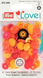 Prym Love Druckknopf Color Blume 13,6mm gelb/rot/gold, 4002273930806