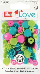 Prym Love Druckknopf Color Blume 13,6mm türkis/grün/pink, 4002273930813