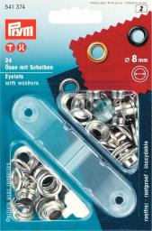Eyelets + washers  8mm br silv 24pc, 4002275413741