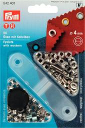 Ösen und Scheiben MS 4,0 mm silberfarbig, 4002275424075