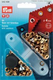 Ösen und Scheiben MS 4,0 mm goldfarbig, 4002275424082