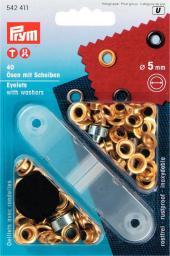 Ösen und Scheiben MS 5,0 mm goldfarbig, 4002275424112